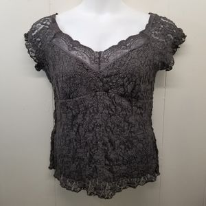 CAbi XL Shirt Top Blouse Brown Lace V Neck 829